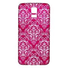 Damask1 White Marble & Pink Leather Samsung Galaxy S5 Back Case (white)
