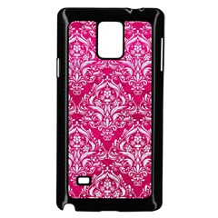 Damask1 White Marble & Pink Leather Samsung Galaxy Note 4 Case (black) by trendistuff