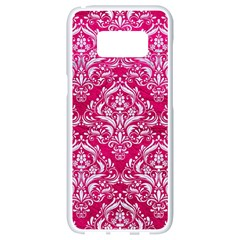 Damask1 White Marble & Pink Leather Samsung Galaxy S8 White Seamless Case