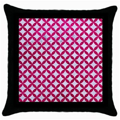 Circles3 White Marble & Pink Leather (r) Throw Pillow Case (black) by trendistuff