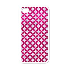 Circles3 White Marble & Pink Leather (r) Apple Iphone 4 Case (white)