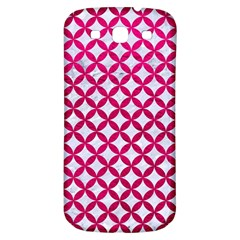 Circles3 White Marble & Pink Leather (r) Samsung Galaxy S3 S Iii Classic Hardshell Back Case