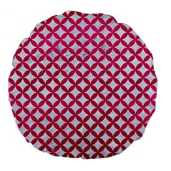 Circles3 White Marble & Pink Leather (r) Large 18  Premium Flano Round Cushions
