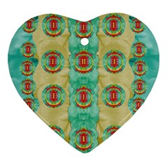 Peace Will Be In Fantasy Flowers With Love Ornament (heart) by pepitasart