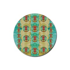Peace Will Be In Fantasy Flowers With Love Rubber Coaster (round)