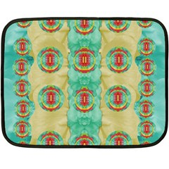 Peace Will Be In Fantasy Flowers With Love Fleece Blanket (mini)