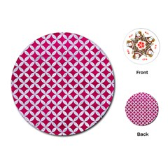 Circles3 White Marble & Pink Leather Playing Cards (round)