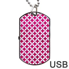 Circles3 White Marble & Pink Leather Dog Tag Usb Flash (two Sides)