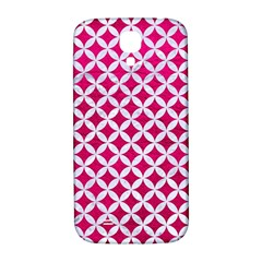 Circles3 White Marble & Pink Leather Samsung Galaxy S4 I9500/i9505  Hardshell Back Case by trendistuff
