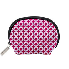 Circles3 White Marble & Pink Leather Accessory Pouches (small)  by trendistuff