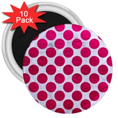 Circles2 White Marble & Pink Leather (r) 3  Magnets (10 Pack)