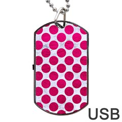 Circles2 White Marble & Pink Leather (r) Dog Tag Usb Flash (one Side)