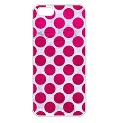 Circles2 White Marble & Pink Leather (r) Apple Iphone 5 Seamless Case (white)
