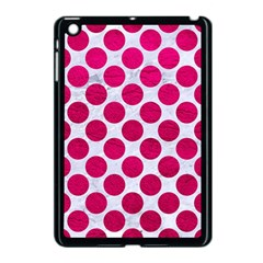 Circles2 White Marble & Pink Leather (r) Apple Ipad Mini Case (black) by trendistuff