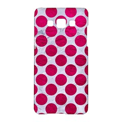 Circles2 White Marble & Pink Leather (r) Samsung Galaxy A5 Hardshell Case
