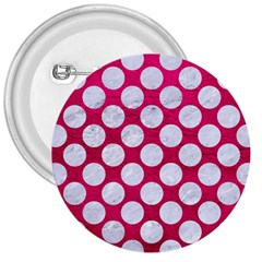 Circles2 White Marble & Pink Leather 3  Buttons