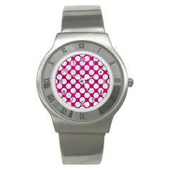 Circles2 White Marble & Pink Leather Stainless Steel Watch