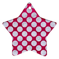 Circles2 White Marble & Pink Leather Star Ornament (two Sides)