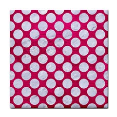 Circles2 White Marble & Pink Leather Face Towel by trendistuff