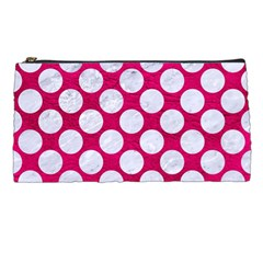 Circles2 White Marble & Pink Leather Pencil Cases