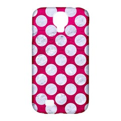 Circles2 White Marble & Pink Leather Samsung Galaxy S4 Classic Hardshell Case (pc+silicone)