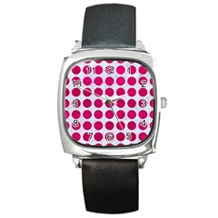 Circles1 White Marble & Pink Leather (r) Square Metal Watch