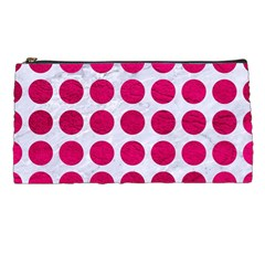 Circles1 White Marble & Pink Leather (r) Pencil Cases