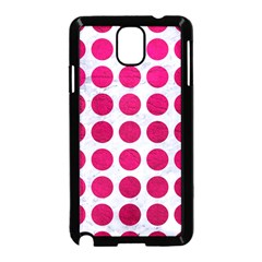 Circles1 White Marble & Pink Leather (r) Samsung Galaxy Note 3 Neo Hardshell Case (black) by trendistuff