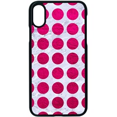 Circles1 White Marble & Pink Leather (r) Apple Iphone X Seamless Case (black)