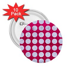 Circles1 White Marble & Pink Leather 2 25  Buttons (10 Pack)