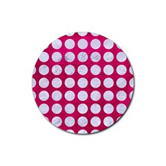 Circles1 White Marble & Pink Leather Rubber Round Coaster (4 Pack)