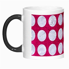 Circles1 White Marble & Pink Leather Morph Mugs by trendistuff