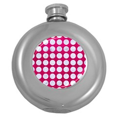 Circles1 White Marble & Pink Leather Round Hip Flask (5 Oz)