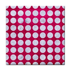 Circles1 White Marble & Pink Leather Face Towel