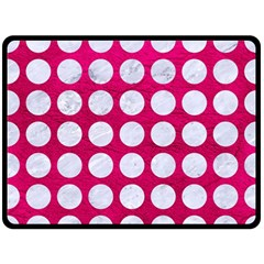 Circles1 White Marble & Pink Leather Fleece Blanket (large)