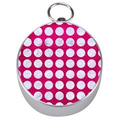 Circles1 White Marble & Pink Leather Silver Compasses