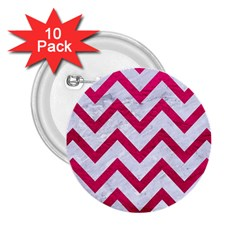 Chevron9 White Marble & Pink Leather (r) 2 25  Buttons (10 Pack)