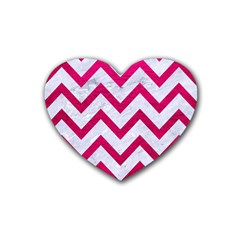 Chevron9 White Marble & Pink Leather (r) Rubber Coaster (heart)