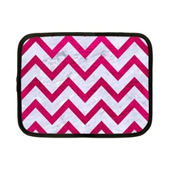 Chevron9 White Marble & Pink Leather (r) Netbook Case (small)