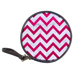 Chevron9 White Marble & Pink Leather (r) Classic 20 Cd Wallets