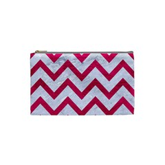 Chevron9 White Marble & Pink Leather (r) Cosmetic Bag (small)  by trendistuff