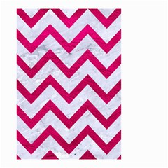 Chevron9 White Marble & Pink Leather (r) Small Garden Flag (two Sides)