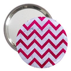 Chevron9 White Marble & Pink Leather (r) 3  Handbag Mirrors by trendistuff