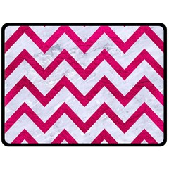 Chevron9 White Marble & Pink Leather (r) Double Sided Fleece Blanket (large)  by trendistuff