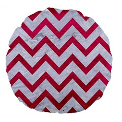 Chevron9 White Marble & Pink Leather (r) Large 18  Premium Flano Round Cushions