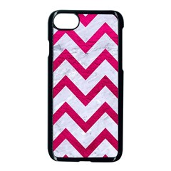 Chevron9 White Marble & Pink Leather (r) Apple Iphone 8 Seamless Case (black)