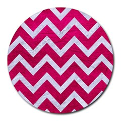 Chevron9 White Marble & Pink Leather Round Mousepads