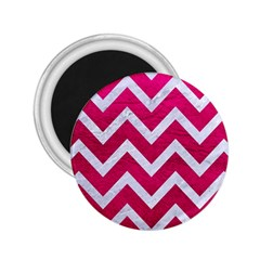 Chevron9 White Marble & Pink Leather 2 25  Magnets