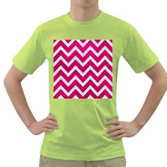 Chevron9 White Marble & Pink Leather Green T Shirt