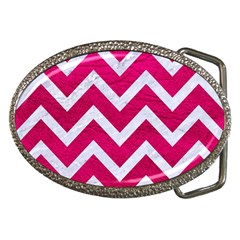 Chevron9 White Marble & Pink Leather Belt Buckles